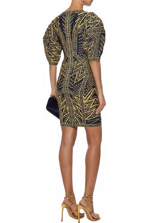 HERVÉ LÉGER Metallic jacquard-knit mini dress