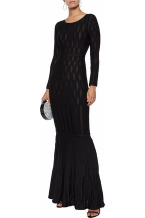 HERVÉ LÉGER Fluted ribbed-knit gown