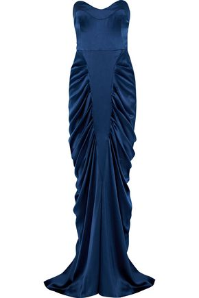 CAROLINA HERRERA Strapless gathered silk-satin gown