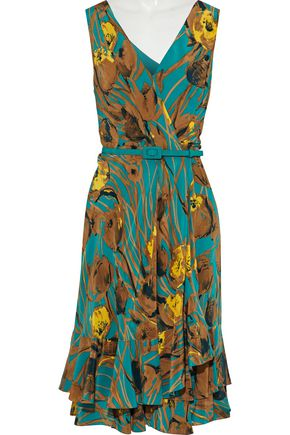 CAROLINA HERRERA Wrap-effect ruffled printed  silk-georgette dress