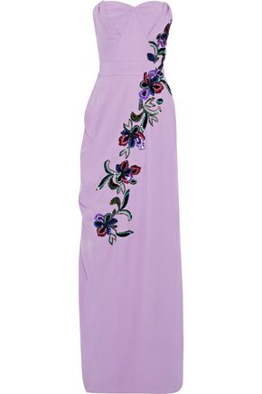 CAROLINA HERRERA Strapless embellished silk-jersey gown