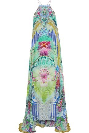 CAMILLA Bahia Bliss layered embellished printed silk crepe de chine maxi dress