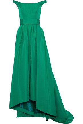 CAROLINA HERRERA Off-the-shoulder pleated silk-faille gown