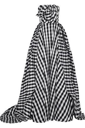 CAROLINA HERRERA Strapless bow-embellished checked taffeta gown
