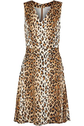 CAROLINA HERRERA Flared leopard-print stretch-silk dress
