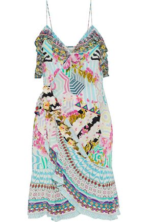 CAMILLA Under My Wrap ruffled embellished printed silk mini wrap dress