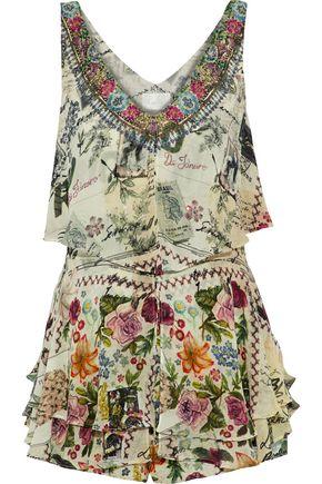 CAMILLA Memory Lane embellished printed layered silk playsuit