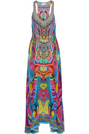 CAMILLA Ms. Mochilla crystal-embellished printed silk maxi dress