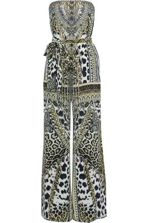 CAMILLA Animal Instinct strapless embellished printed silk jumpsuit