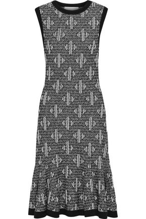 CAROLINA HERRERA Ruffled wool-blend jacquard dress