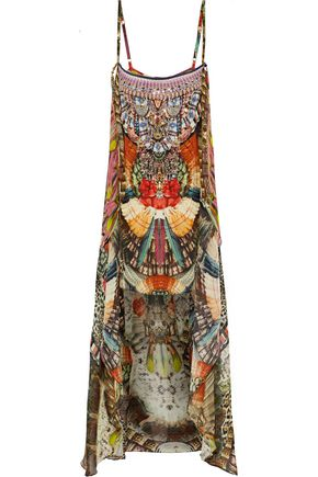 CAMILLA Embellished printed silk-voile coverup