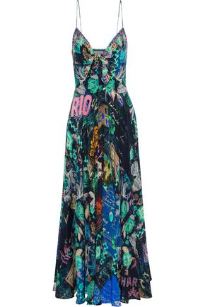 CAMILLA Knotted crystal-embellished printed silk maxi dress