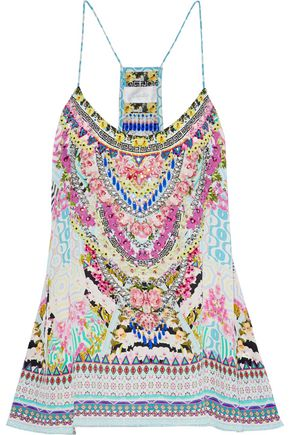 CAMILLA Embellished printed silk crepe de chine top