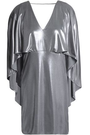 HALSTON HERITAGE Cape-effect metallic stretch-jersey mini dress