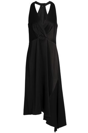 HALSTON HERITAGE Asymmetric cutout cady dress