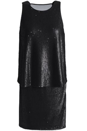 HALSTON HERITAGE Chiffon-paneled layered sequined tulle mini dress