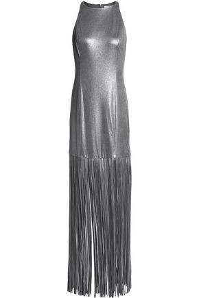 HALSTON HERITAGE Metallic fringed faux suede gown