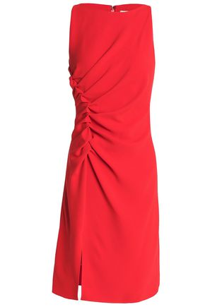 HALSTON HERITAGE Ruched crepe dress