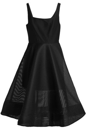HALSTON HERITAGE Flared cady and jacquard dress