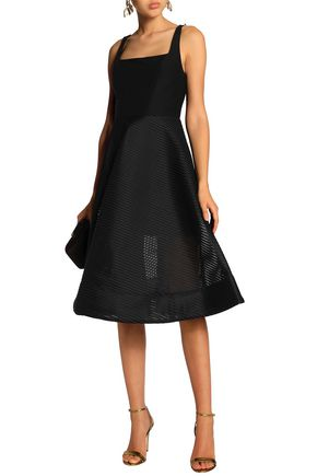 Flared Cady And Jacquard Dress by Halston Heritage