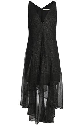 HALSTON HERITAGE Asymmetric metallic embroidered tulle dress
