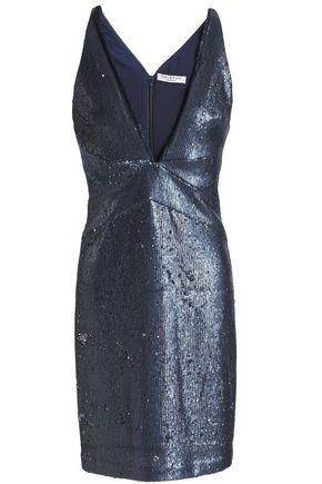 HALSTON HERITAGE Sequined knitted mini dress