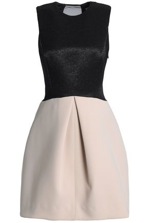 HALSTON HERITAGE Paneled two-tone neoprene, jacquard and chiffon dress