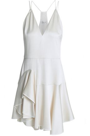 HALSTON HERITAGE Asymmetric ruffled satin-crepe mini dress