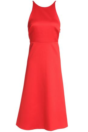 HALSTON HERITAGE Bow-detailed crepe-satin dress
