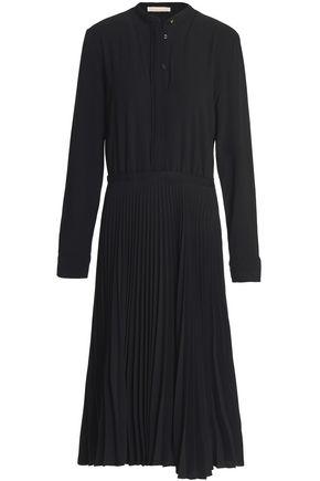 VANESSA BRUNO Grosgrain-trimmed pleated crepe dress