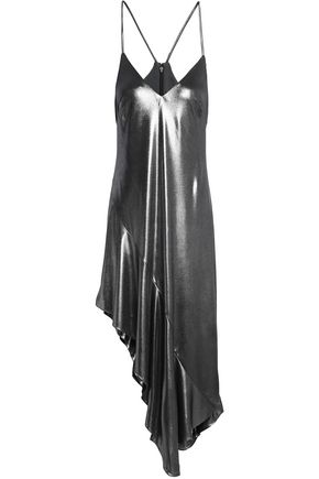HALSTON HERITAGE Asymmetric metallic ruffled stretch-jersey dress