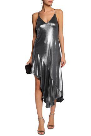 HALSTON HERITAGE Asymmetric metallic ruffled stretch-jersey dress