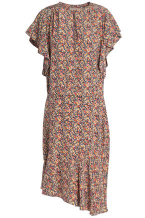 VANESSA BRUNO Asymmetric fluted floral-print silk crepe de chine dress