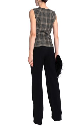 VANESSA BRUNO Checked wool and cotton-blend peplum top