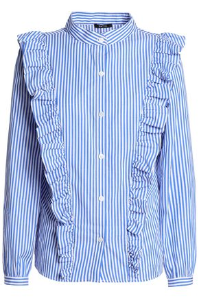 RAOUL Ruffled striped cotton-poplin shirt