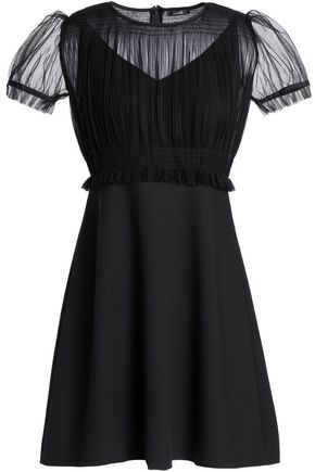 RAOUL Pleated tulle-paneled crepe mini dress