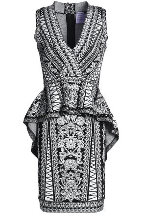 HERVÉ LÉGER Jacquard-knit peplum dress