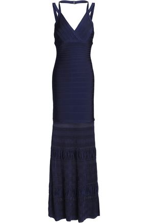 HERVÉ LÉGER Textured knit-paneled bandage gown