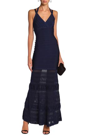 HERVÉ LÉGER Textured knit-paneled bandage gown