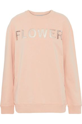 CHRISTOPHER KANE Embroidered corded lace-paneled cotton-terry sweatshirt