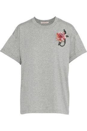 CHRISTOPHER KANE Floral-appliquéd mélange cotton-jersey T-shirt