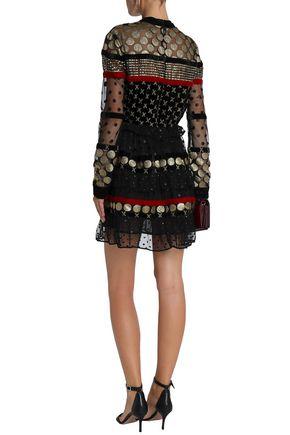DODO BAR OR Tiered Swiss-dot tulle and chiffon mini dress