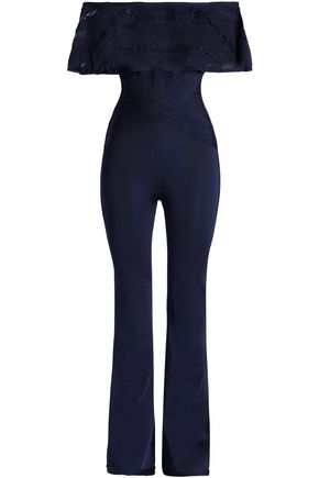 HERVÉ LÉGER Off-the-shoulder layered stretch-ponte jumpsuit