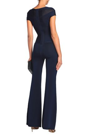 HERVÉ LÉGER Bandage-paneled stretch-knit jumpsuit