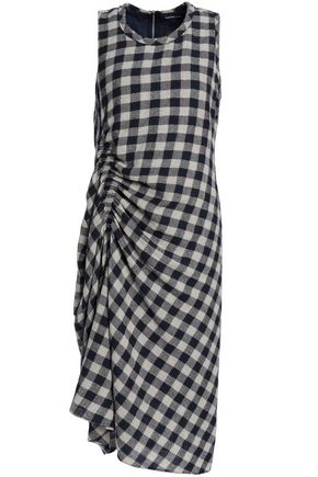 JAMES PERSE Ruched gingham wool and linen-blend jacquard midi dress