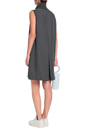 JAMES PERSE Ribbed cotton-blend and twill turtleneck mini dress