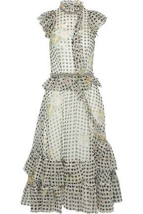 CHRISTOPHER KANE Chain-embellished printed silk-organza midi dress