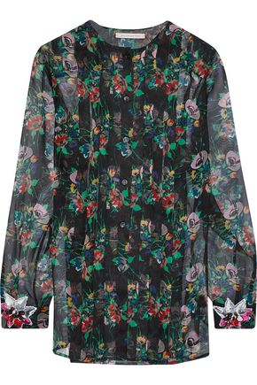 CHRISTOPHER KANE Crystal-embellished pintucked floral-print silk-gauze blouse