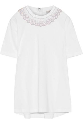 CHRISTOPHER KANE Metallic lace-trimmed cotton-jersey T-shirt