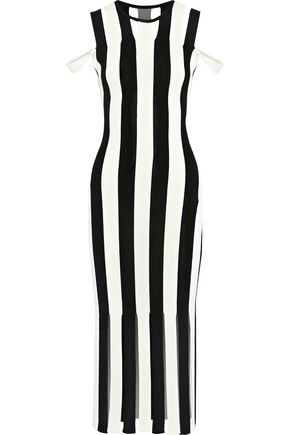 CHRISTOPHER KANE Cold-shoulder fringed striped stretch-knit midi dress